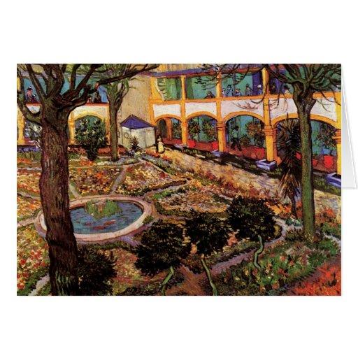 Patio del hospital en Arles de Van Gogh Tarjeta De Felicitación