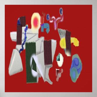Patio en el rojo - pintura abstracta de Digitaces Póster