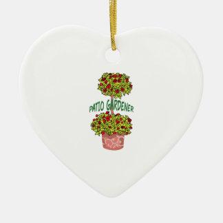 PATIO GARDENER Double-Sided HEART CERAMIC CHRISTMAS ORNAMENT