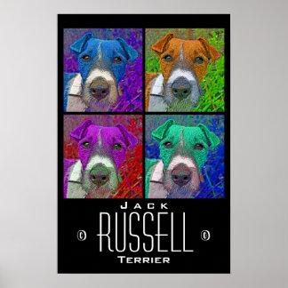 Patio Jack Russell Terrier del arte pop Póster