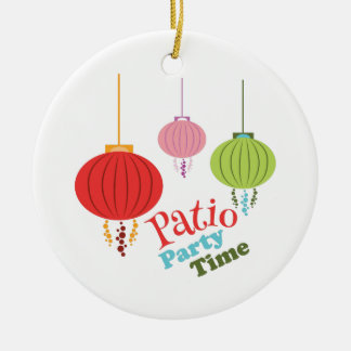 Patio Party Time Double-Sided Ceramic Round Christmas Ornament