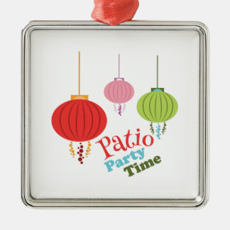 Patio Party Time Square Metal Christmas Ornament