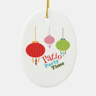 Patio Party Time Double-Sided Oval Ceramic Christmas Ornament