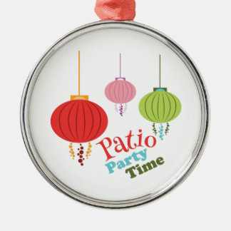 Patio Party Time Round Metal Christmas Ornament