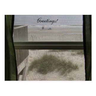 Patio trasero de la casa de playa tarjeta postal