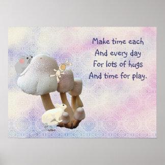 Patio y poema del juguete del bebé de la seta póster