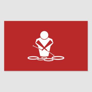 ¡Patios - blanco - fondo rojo - bebé de los Pegatina Rectangular