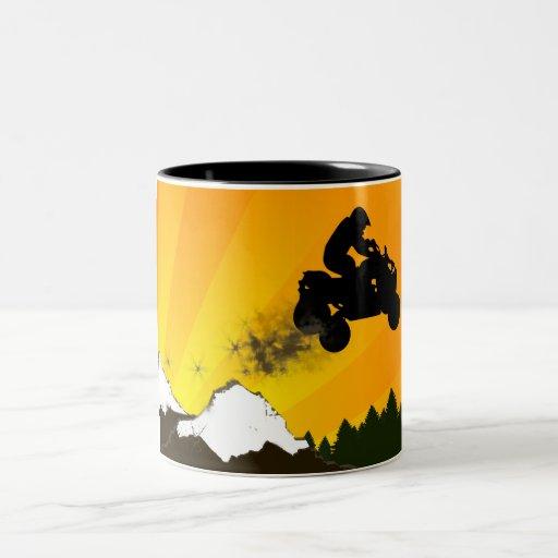 patios. puesta del sol anaranjada taza de café de dos colores