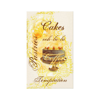 Patisserie french bakery coffee cake canvas prints