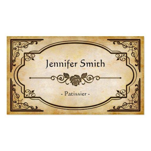 Patissier - antigüedad elegante del vintage tarjetas de visita