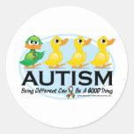 Patito feo del autismo pegatina redonda