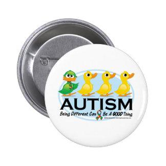 Patito feo del autismo pin redondo de 2 pulgadas