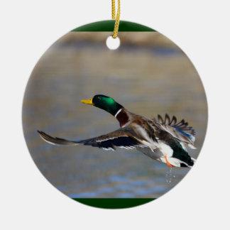pato adorno navideño redondo de cerámica