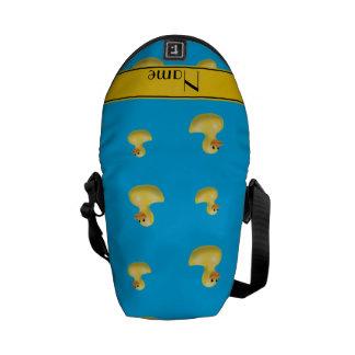 Pato amarillo conocido de encargo del caucho del bolsas messenger