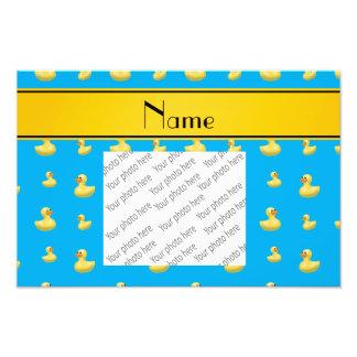 Pato amarillo conocido de encargo del caucho del impresion fotografica