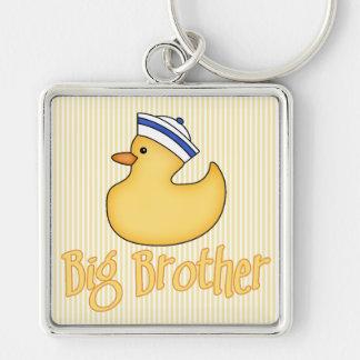 Pato amarillo hermano mayor llavero cuadrado plateado
