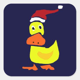 Pato amarillo lindo en el gorra de Santa Colcomanias Cuadradas Personalizadas