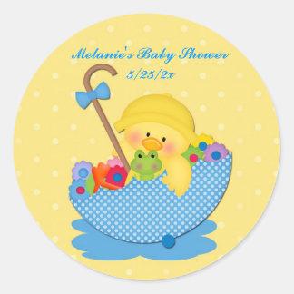 Pato amarillo, paraguas, pegatina amarillo de la