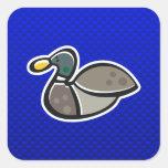 Pato azul calcomania cuadradas