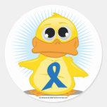 Pato azul de la cinta de la conciencia pegatina redonda
