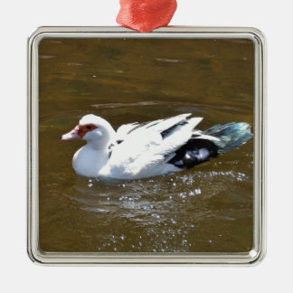 Pato blanco adorno navideño cuadrado de metal