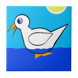 Pato blanco azulejo cuadrado pequeño