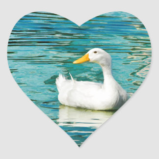 Pato blanco de Pekin - foto de la naturaleza en Pegatina En Forma De Corazón
