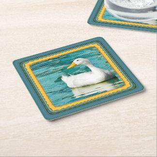 Pato blanco de Pekin - foto de la naturaleza en Posavasos Desechable Cuadrado
