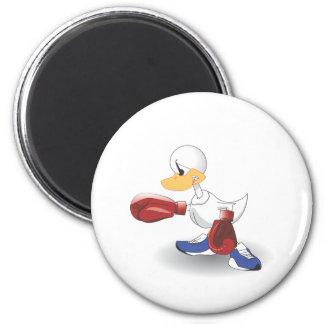 Pato blanco del boxeo imán redondo 5 cm