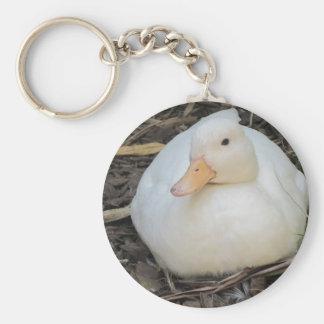 Pato blanco lindo llaveros