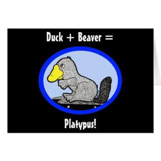 Pato + ¡Castor = Platypus! Tarjeta De Felicitación