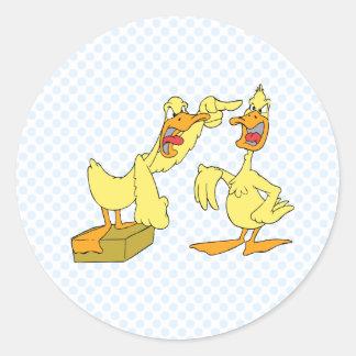 Pato cavada y del Dag Pegatina Redonda