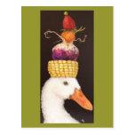 pato con la postal del gorra del veggie