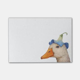 Pato con las notas de post-it de la correhuela