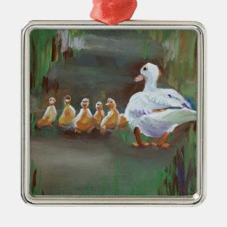 Pato con los anadones adorno navideño cuadrado de metal