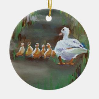 Pato con los anadones adorno navideño redondo de cerámica