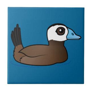 Pato de cabeza blanca de Birdorable Azulejo Cuadrado Pequeño