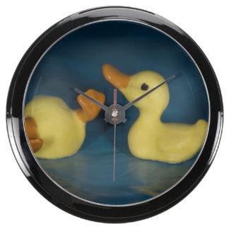 Pato de cerámica reloj acuario