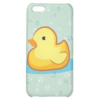 Pato de goma amarillo con el iPhone 4S de las burb