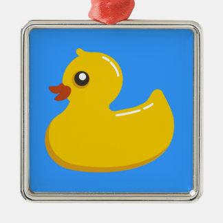 pato de goma amarillo en azul adorno navideño cuadrado de metal