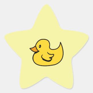 Pato de goma amarillo pegatina en forma de estrella