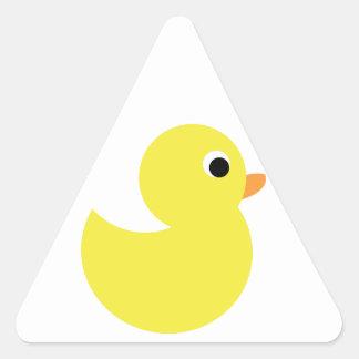 Pato de goma amarillo pegatina triangular