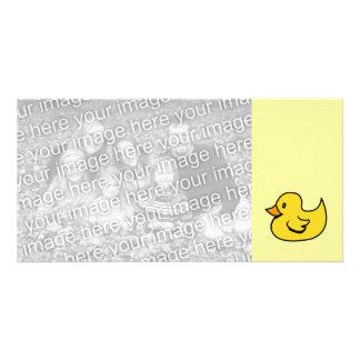 Pato de goma amarillo tarjeta fotografica personalizada
