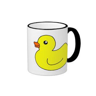 Pato de goma amarillo taza a dos colores