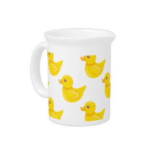 Pato de goma amarillo y blanco, Ducky Jarra Para Bebida