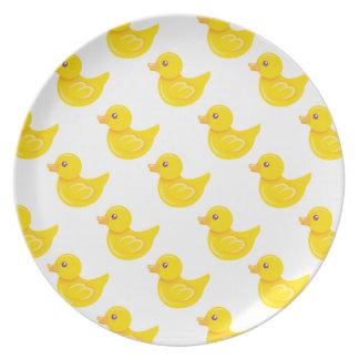 Pato de goma amarillo y blanco, Ducky Plato De Comida
