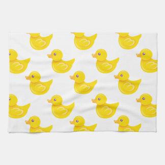 Pato de goma amarillo y blanco, Ducky Toallas De Cocina
