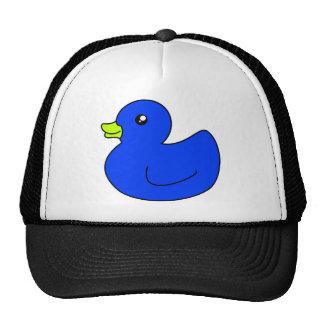 Pato de goma azul gorros