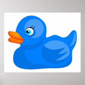 Pato de goma azul póster