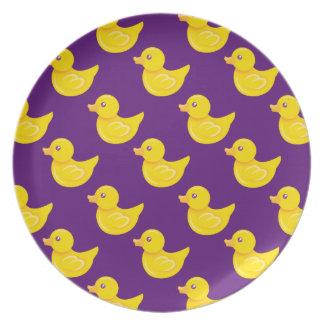 Pato de goma púrpura y amarillo, Ducky Platos